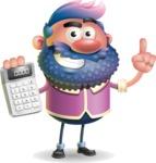 Man with Big Beard Cartoon 3D Vector Character AKA Ernest O'Beard - Calculator