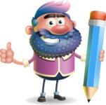 Man with Big Beard Cartoon 3D Vector Character AKA Ernest O'Beard - Pencil