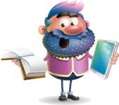 Man with Big Beard Cartoon 3D Vector Character AKA Ernest O'Beard - Book and iPad