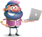 Man with Big Beard Cartoon 3D Vector Character AKA Ernest O'Beard - Laptop 1