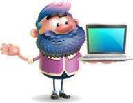 Man with Big Beard Cartoon 3D Vector Character AKA Ernest O'Beard - Laptop 3