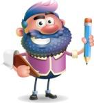 Man with Big Beard Cartoon 3D Vector Character AKA Ernest O'Beard - Notepad 3
