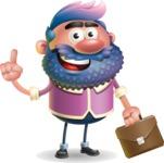 Man with Big Beard Cartoon 3D Vector Character AKA Ernest O'Beard - Briefcase 2
