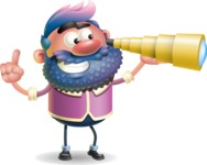 Man with Big Beard Cartoon 3D Vector Character AKA Ernest O'Beard - Telescope