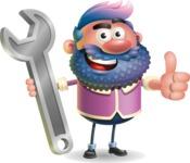 Man with Big Beard Cartoon 3D Vector Character AKA Ernest O'Beard - Repair