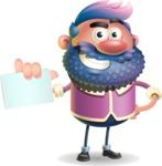 Man with Big Beard Cartoon 3D Vector Character AKA Ernest O'Beard - Sign 1