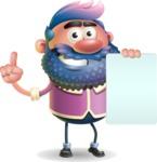 Man with Big Beard Cartoon 3D Vector Character AKA Ernest O'Beard - Sign 2