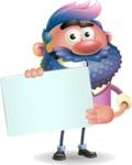 Man with Big Beard Cartoon 3D Vector Character AKA Ernest O'Beard - Sign 3