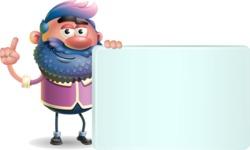 Man with Big Beard Cartoon 3D Vector Character AKA Ernest O'Beard - Sign 7