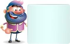 Man with Big Beard Cartoon 3D Vector Character AKA Ernest O'Beard - Sign 8