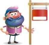 Man with Big Beard Cartoon 3D Vector Character AKA Ernest O'Beard - Sign 9