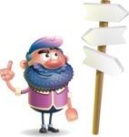 Man with Big Beard Cartoon 3D Vector Character AKA Ernest O'Beard - Crossroad