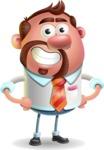 Businessman with Goatee Cartoon 3D Vector Character AKA Jordan - Normal