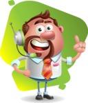 Businessman with Goatee Cartoon 3D Vector Character AKA Jordan - Shape 7