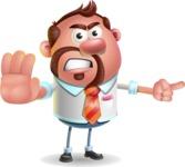 Businessman with Goatee Cartoon 3D Vector Character AKA Jordan - Direct Attention
