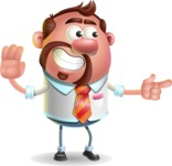 Businessman with Goatee Cartoon 3D Vector Character AKA Jordan - Direct Attention 2