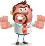 Businessman with Goatee Cartoon 3D Vector Character AKA Jordan - Stop