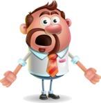 Businessman with Goatee Cartoon 3D Vector Character AKA Jordan - Stunned