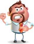 Businessman with Goatee Cartoon 3D Vector Character AKA Jordan - Angry