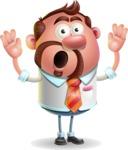 Businessman with Goatee Cartoon 3D Vector Character AKA Jordan - Shocked