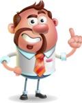 Businessman with Goatee Cartoon 3D Vector Character AKA Jordan - Attention