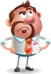 Businessman with Goatee Cartoon 3D Vector Character AKA Jordan - Roll Eyes
