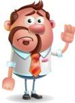 Businessman with Goatee Cartoon 3D Vector Character AKA Jordan - Goodbye