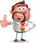 Businessman with Goatee Cartoon 3D Vector Character AKA Jordan - Thumbs Up