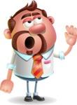 Businessman with Goatee Cartoon 3D Vector Character AKA Jordan - Bored 2