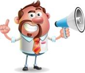Businessman with Goatee Cartoon 3D Vector Character AKA Jordan - Loudspeaker