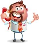 Businessman with Goatee Cartoon 3D Vector Character AKA Jordan - Support