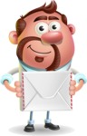 Businessman with Goatee Cartoon 3D Vector Character AKA Jordan - Letter