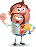 Businessman with Goatee Cartoon 3D Vector Character AKA Jordan - Ribbon