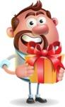 Businessman with Goatee Cartoon 3D Vector Character AKA Jordan - Gift
