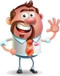 Businessman with Goatee Cartoon 3D Vector Character AKA Jordan - Wave