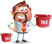 Businessman with Goatee Cartoon 3D Vector Character AKA Jordan - Sale