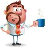 Businessman with Goatee Cartoon 3D Vector Character AKA Jordan - Coffee
