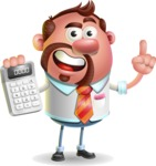 Businessman with Goatee Cartoon 3D Vector Character AKA Jordan - Calculator