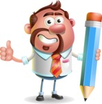 Businessman with Goatee Cartoon 3D Vector Character AKA Jordan - Pencil