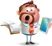 Businessman with Goatee Cartoon 3D Vector Character AKA Jordan - Book and iPad