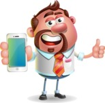 Businessman with Goatee Cartoon 3D Vector Character AKA Jordan - iPhone