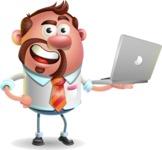 Businessman with Goatee Cartoon 3D Vector Character AKA Jordan - Laptop 1