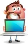 Businessman with Goatee Cartoon 3D Vector Character AKA Jordan - Laptop 2