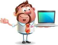 Businessman with Goatee Cartoon 3D Vector Character AKA Jordan - Laptop 3