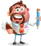 Businessman with Goatee Cartoon 3D Vector Character AKA Jordan - Notepad 3