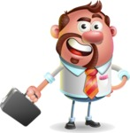 Businessman with Goatee Cartoon 3D Vector Character AKA Jordan - Briefcase 1