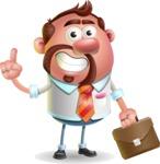 Businessman with Goatee Cartoon 3D Vector Character AKA Jordan - Briefcase 2
