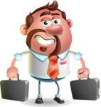 Businessman with Goatee Cartoon 3D Vector Character AKA Jordan - Briefcase 3