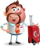 Businessman with Goatee Cartoon 3D Vector Character AKA Jordan - Travel 1