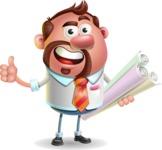 Businessman with Goatee Cartoon 3D Vector Character AKA Jordan - Plans